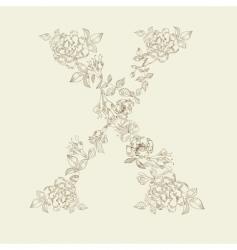 floral font letter x vector image