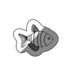 Sticker silhouette clownfish aquatic animal icon vector