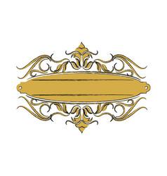 vintage label with ornamental border badge elegant vector image