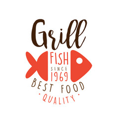 grill fish since 1969 logo template hand drawn vector image