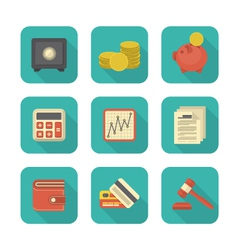 Modern flat financial icons vector