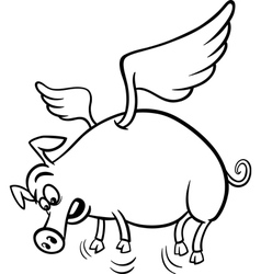 when pigs fly coloring page vector image