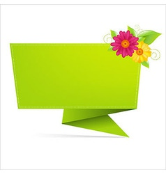 Origami paper with leaf and flower vector