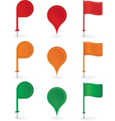 Color pins and flags collection vector