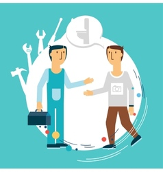 plumber talking with a client vector image