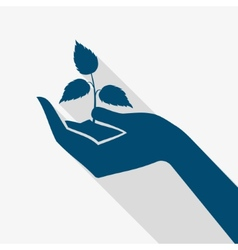 Hand holding plant sprout vector
