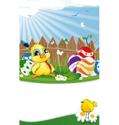 Cartoon chicken and easter eggs vector