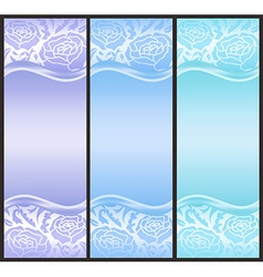Vertical voucher with rose decoration in blue vector