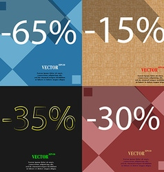 15 35 30 icon set of percent discount on abstract vector