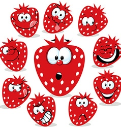 Strawberry icon cartoon with funny faces isolated vector