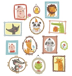 Portraits cute animal vector