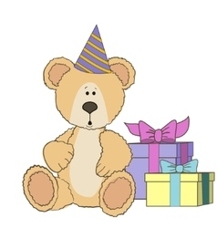 Teddy bear is sitting with gift boxes vector