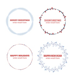 Decorative winter circle wreath collection vector