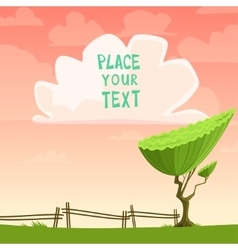 Cartoon placard with a tree vector