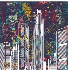 Art sky scraper abstract city view night landscape vector