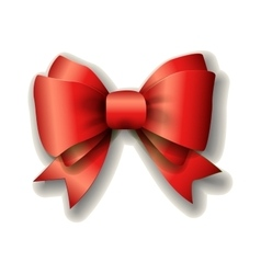 Red ribbon bow on white background vector image