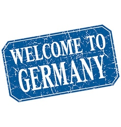 Welcome to germany blue square grunge stamp vector