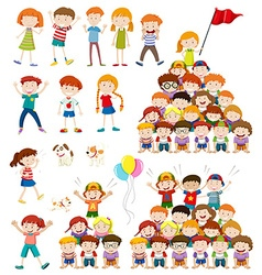 Children and human pyramid vector