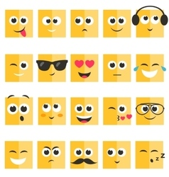 Emotional square yellow faces set vector