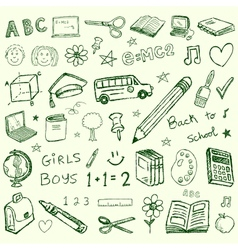 Back to school doodles set vector