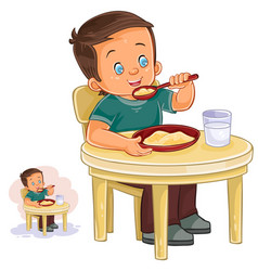 a little boy eating vector image vector image