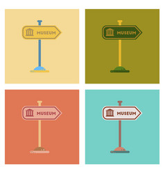 Assembly flat icons museum sign vector