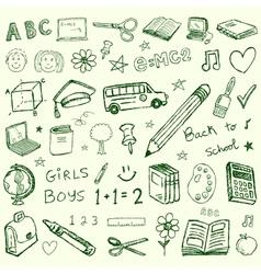 Back to school doodles set vector image vector image