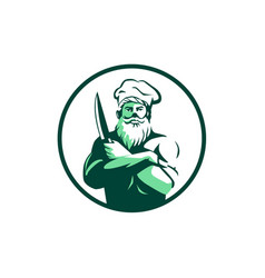 Bearded chef arms crossed knife circle retro vector