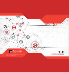 Brochure design template gear technology vector