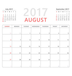 Calendar planner 2017 august week starts sunday vector