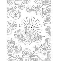 Contour image of smiling sun and clouds doodle vector