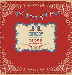 Cowboy party card with text and decorations vector