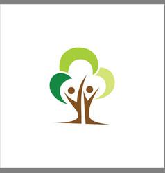 eco tree people logo vector image