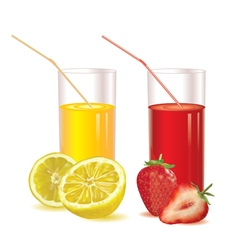 Glasses for juice of strawberries and lemon vector