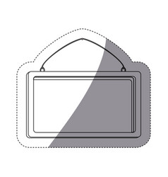 Grayscale contour sticker with rectangular frame vector