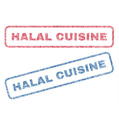 halal cuisine textile stamps vector image vector image