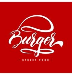 Hand lettering burger food logo design concept vector