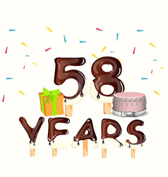 happy birthday fifty eight 58 year vector image