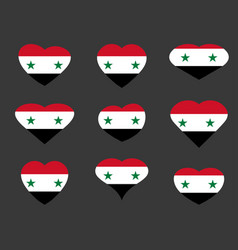 hearts with the syrian flag i love syria syria vector image vector image