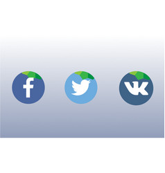 Icons for social networks green apps and web vector