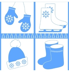 image winter icons vector image vector image