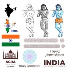 India flag krishna taj mahal map mandala vector