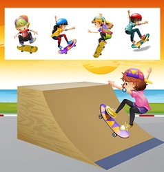 Kids playing skatboard on the ramp vector