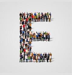 large group of people in letter e form vector image vector image