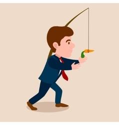 Man chasing a carrot cartoon vector image