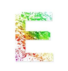 Music theme grungy font letter e vector