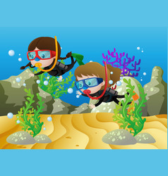 Scene with two girls diving under the sea vector