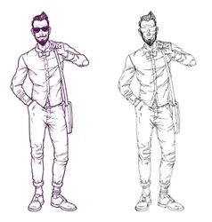 Set of a fashionable guy vector image vector image
