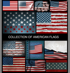 Set of american flags of developing and vintage vector