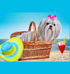 Shih tzu dog vacation vector
